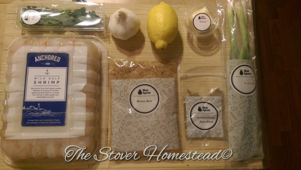 blue apron garlic herb shrimp ingredients